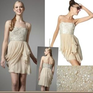Alice Oliva Liran Chiffon Sequin Strapless Dress